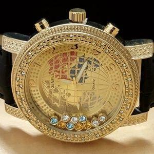 G-Elite Gold Tone Hip Hop Floating Stones Watch